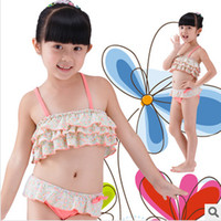 Wholesale Mixed Girls Swimsuits - 2014 new children's swimwear mixed colors Floral three-piece children split swimsuit girls swimsuit
