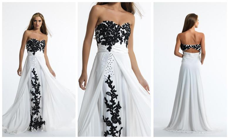 Long White And Black Prom Evening Dresses Sweetheart Neckline Open ...