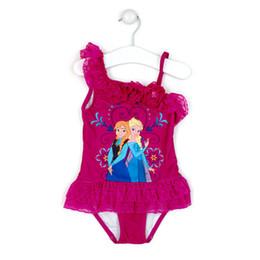 Wholesale Girls Purple Swimming - In stock two colors 2014 New SwimSuit One Piece Swim Bodysuit Anna & Elsa Swimsuit Purple Swimwear
