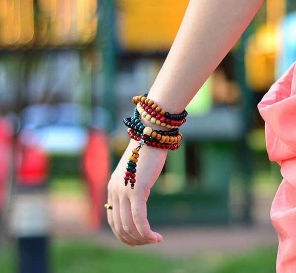 Free shipping multicolor 6mm 8mm 108 sandalwood beads japa rosary prayer mala bracelet Tibetan Buddhist meditation beads Bracelet