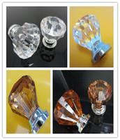 alças de guarda-roupa venda por atacado-Chegam novas Limpar Cristal Knob Gabinete Puxar Lidar Com Gaveta Hardware Porta Wardrobe Da Cozinha