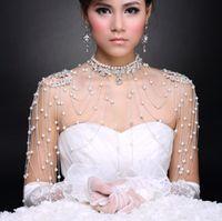 Wholesale shoulder necklaces - 2014 luxury necklace diamond bride shoulder chain pearl epaulets wedding jewelry