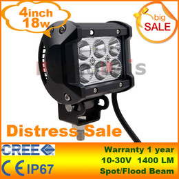 Wholesale Led Atv Flood Light - 4 inch 18W Cree LED Work Light Bar Lamp for Motorcycle Tractor Boat Off Road 4WD 4x4 Truck SUV ATV Spot Flood 12v 24v