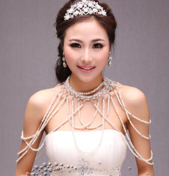 Popular new Bride wedding dress shoulder chain pearl necklace shawl type shoulder strap pearl epaulets wedding jewelry