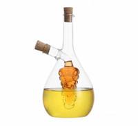 tarros de vinagre de aceite al por mayor-450 ml a prueba de calor soplado a mano de cristal de aceite de vinagre y salsa de soja botella de botellas de especias de cocina tarros Cruet condimento botella de herramientas de cocina RY1419