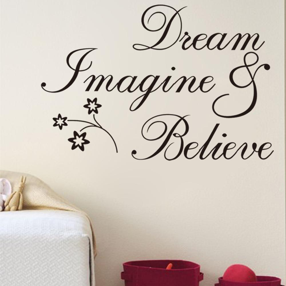 New Arrival Dream Believe Removable Quote Wall Decals Vinyl Wall - Wall decals quotes for bedroom