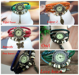 Wholesale Ladies Watches Wrap Around - Promotion Mix Leather leaf butterfly owl wing Watch Weave Wrap Around Retro Bracelet Lady Wrist Watch mix styles etc woman watch