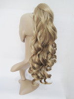 Wholesale Synthetic Hairpiece Blonde - 1pc wholesale fashion new curly stylis claw jaw clip hairpieces,synthetic hair extensions,clip in ponytails.3colors ,free shipping