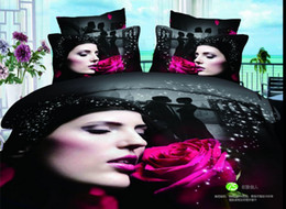 Wholesale Girls Reversible Clothes Set - Brand new girl rose flower love bedding set bed clothes cotton fabric full queen size reversible duvet cover flat sheet comforter sets 4 5pc