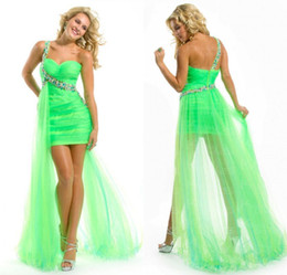 Wholesale Cheap Lime Green Gowns - Hot Sale New Lime Green One shoulder Hi-Lo Organza Sheath Pleated Crystal Cheap High Low Prom Dress Evening Formal Dresses Gown 2017