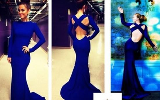 Royal Blue Dress With Long Sleeve Cross Backless Mermaid Elegant Satin Evening Gowns 2