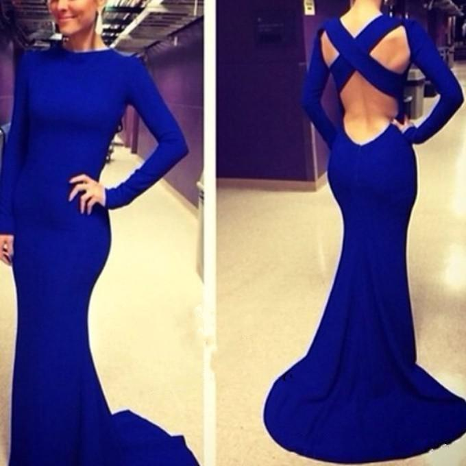 Royal Blue Dress With Long Sleeve Cross Backless Mermaid Elegant Satin Evening Gowns