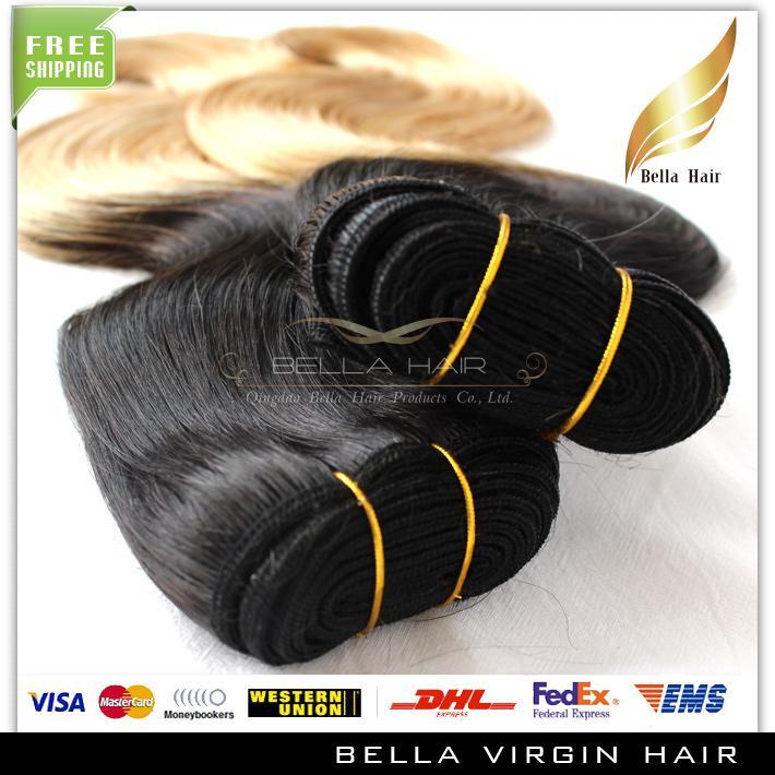 Ombre brasileña del pelo Extensiones onda del cuerpo del pelo ondulado de la trama del pelo humano Tejidos Reina calidad libre del envío