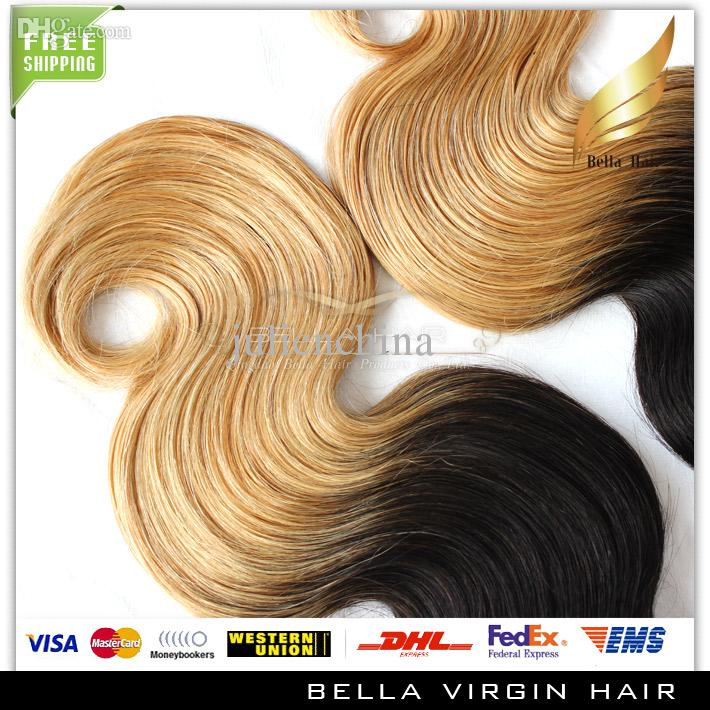 Brazilian Ombre Hair Human Hair Extension Body Wave Wavy Hair Weaves Dip DyeT#1B/#Ombre Human Hair Bella Hair