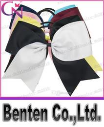 "Wholesale Handmade Hair Holder - LLFA4869 Handmade 7"" Baby Ponytail Holder Jumbo Cheer Bow Larger Two Tons Hair Bow For Cheerleader Girls 200pcs"