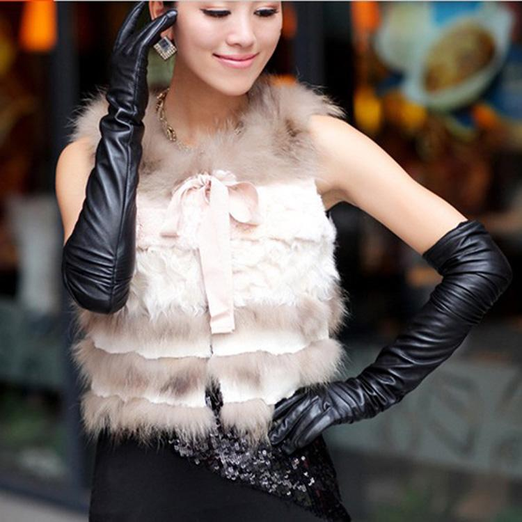 S M L Women's Black Color Long Faux PU Leather Gloves, Fashion Women Party Dresses Evening Dress Gloves Free Shipping