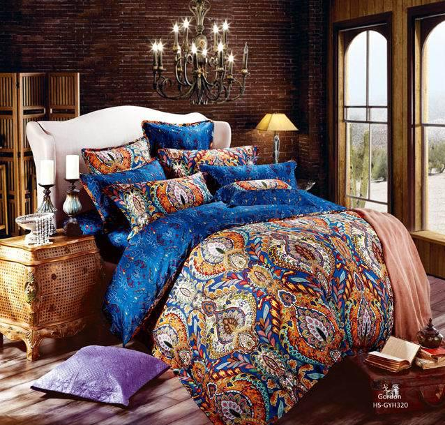 Egyptian Cotton Blue Paisley Satin Luxury Hotel Bedding Comforter Sets King  Queen Size Duvet Cover Sheets Bedspread Bed Sheets Bed In A Bag Bedclothes  Quilt ...