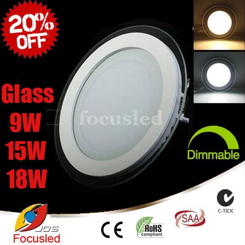 top popular 20% OFF-Glass Surface 9W 15W 18W LED Panel Light SMD5730 Downlights Round Fixture Ceiling Down Lights Lamps+Power Supply+Dimmable Non CE SAA 2021