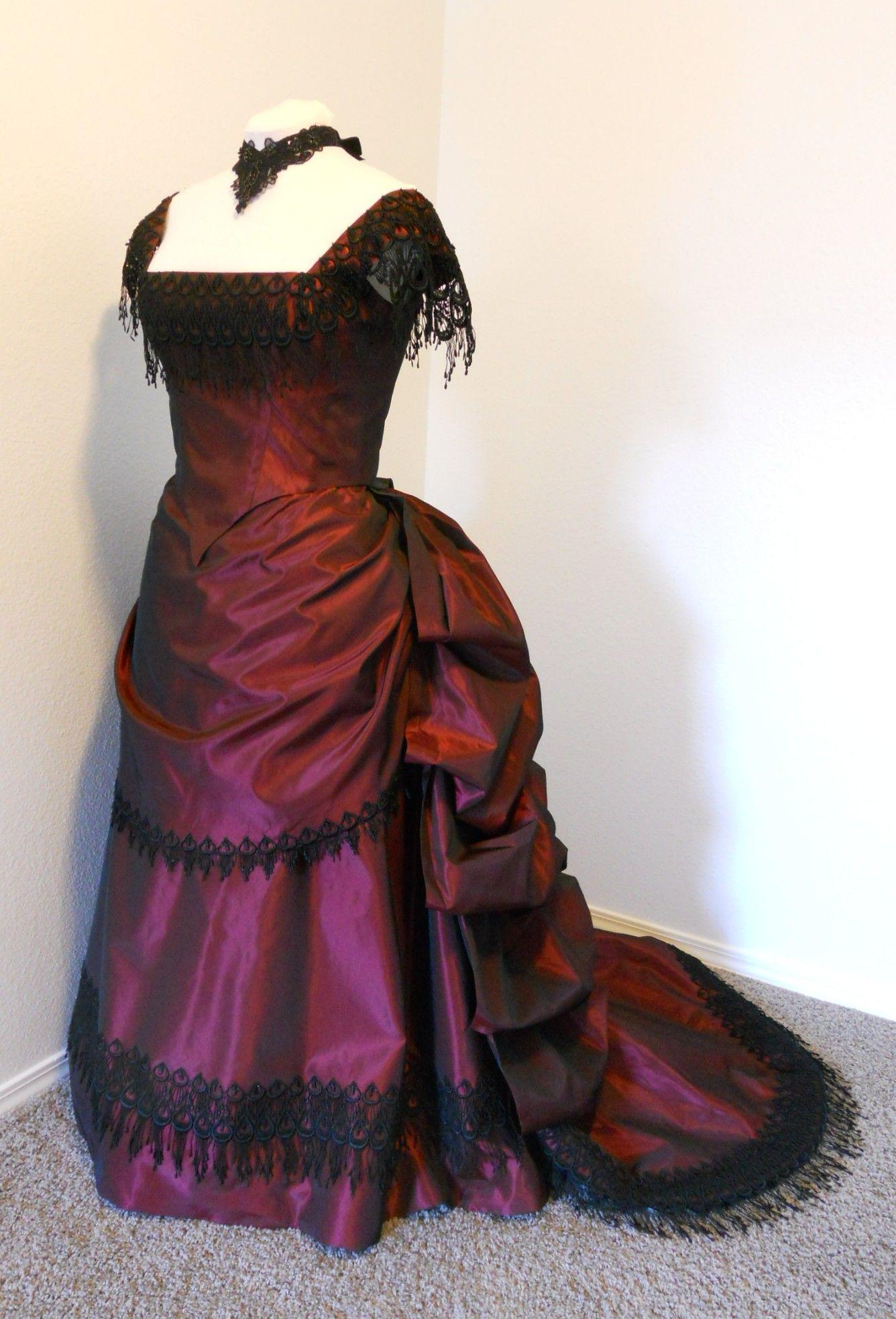 19th century dark red taffeta victorian bustle ball gown