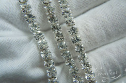 Wholesale Rhinestone Close Chain - Hot ! Clear Crystal Rhinestone Close Chain Trims Silver 5.8 Meter(75)