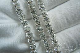 Wholesale Crystal Rhinestone Close Chain - Hot ! Clear Crystal Rhinestone Close Chain Trims Silver 5.8 Meter(75)