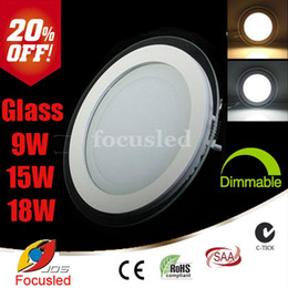 Wholesale Glass Cabinet Lighting - 20% OFF-Super Bright 9W 15W 18W Glass Surface Round LED Panel Lights SMD5730 Downlights Fixture Cabinet Ceiling Down Lights Dimmable Non CSA