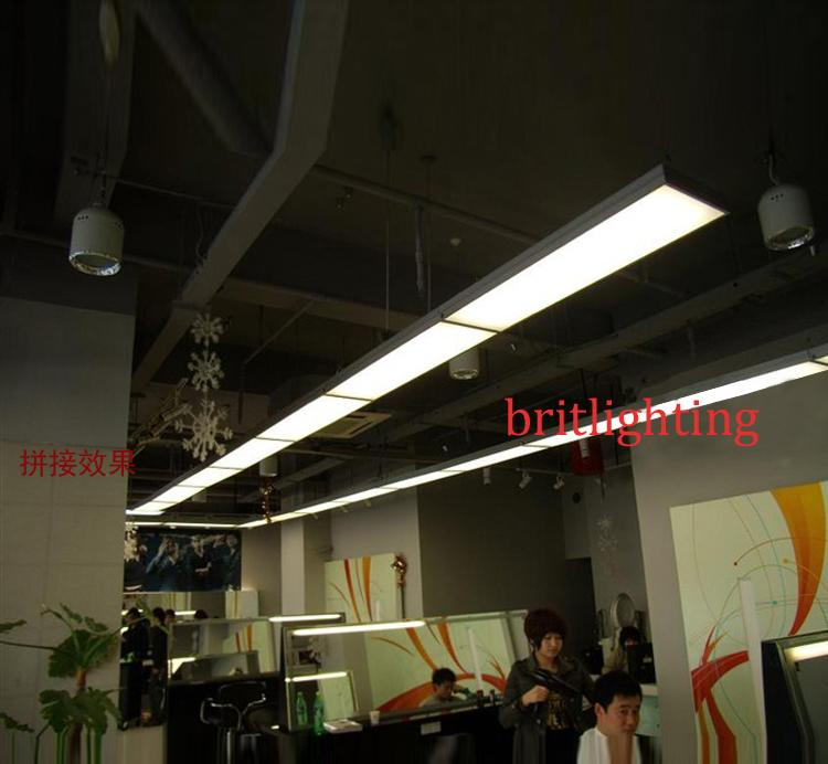 Linear Suspended Fluorescent Light Fixture with a Recessed Down ...