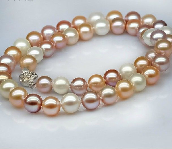 """New Fine Pearls Jewelry 10-11mm south sea multicolor pink purple pearl necklace 19""""14k"""