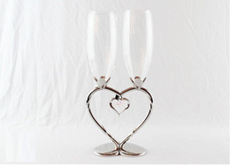 Wholesale Champagne Glasses Flutes - New arrival silver plated 2-hearts shape champagne glass toast flute wine glass champagne flute for weddings or party