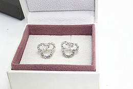 Wholesale Diamond Crystal Mouse - Wholesale Fashion New 2014 Clear CZ Crystal Mini Minnie mouse Silver Earrings Stud Jewelry For Women Girls