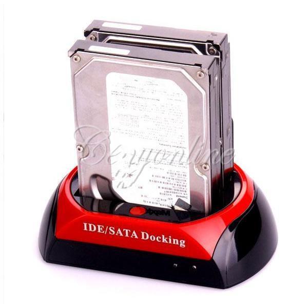 """2.5 """"3.5""""SATA 1 IDE HDD 하드 디스크 드라이브 트윈 듀얼 도킹 스테이션 복제품 USB 허브 판독기 외장형 HDD 엔클로저 무료 배송, dandys"""