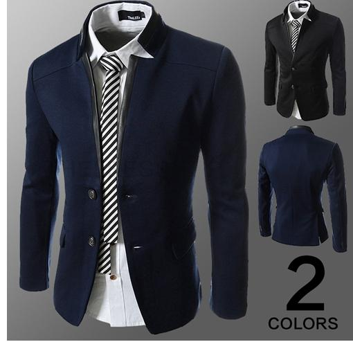 Fashion New Mens Casual Suits Fight Skin Collar Neckline Blazers ...