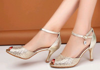 Wholesale Diamond Gold Heels - 2014 New style gold cowhide diamond fish mouth high heel sandals evening party shoes bridal wedding shoes