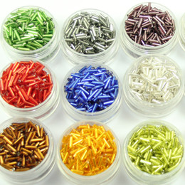 Wholesale Choice Line - set of about 2000pcs silver lined tube beads bugle acrylic beads 6mmx2mm seed beads mixed colors sampler set or color on choice
