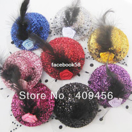 Wholesale Mini Top Hat Wholesale - Free shipping Mixed 8 colors Felt Mini Top Hat Feather Hat Cap Hair Clip Hen Party Kids Veil Popular Hat Christmas Gift 24pcslot