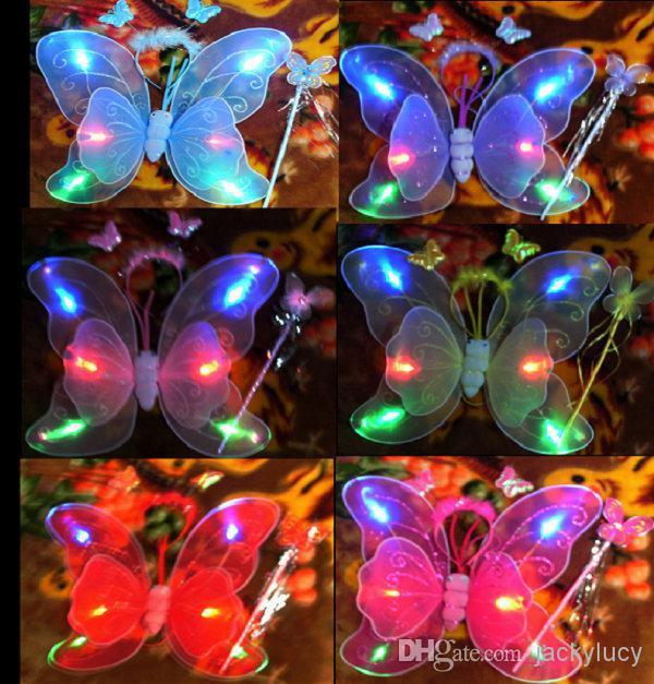 Çocuk Performansları Aksesuarları Flaş Kelebek Kanatları Parti Noel Dekorasyon Peri Kanatları + Sihirli Değnek + Kafa Hoop (3 Parça Set)