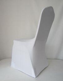 housse de chaise spandex blanche universelle Promotion Spandex blanc blanc mariage chaise couvre blanc spandex lycra chaise couverture pour mariage banquet beaucoup de couleur