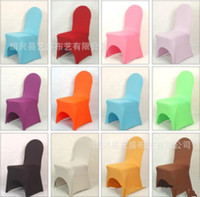 Wholesale Wholesale White Spandex Chair Cover - New Arrive Universal White spandex Wedding Party chair covers White spandex lycra chair cover for Wedding Party Banquet many color