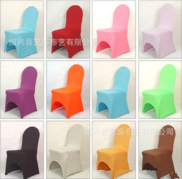 Wholesale Wholesale Polyester Spandex - New Arrive Universal White spandex Wedding Party chair covers White spandex lycra chair cover for Wedding Party Banquet many color