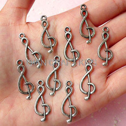 Wholesale Bead 26mm - set of 400pcs Music Note Treble Clef G-clef Charms(10mm x 26mm Tibetan Silver 2 Sided) Kawaii Pendant Bracelet Earrings