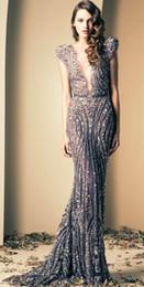 saudi arabe veste foto Desconto 2014 Ziad Nakad luxo sereia noite vestidos de baile vestidos Vintage mergulhando frisado apliques
