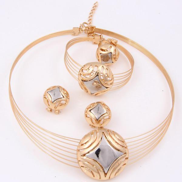2014 Fashion African Costume Jewelry Set 18k Gold Plated Dubai