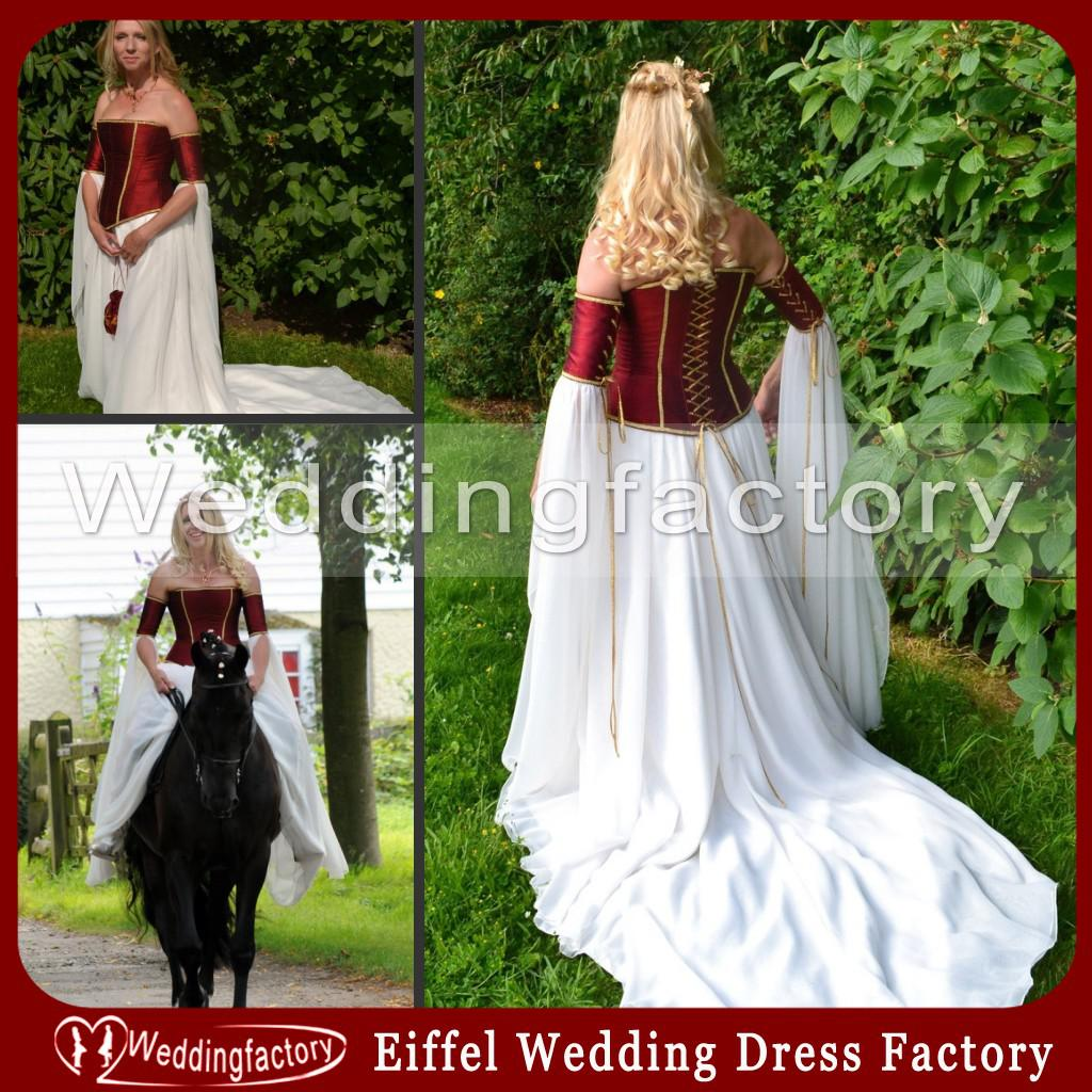 Discount Vintage Celtic Gothic Corset Wedding Dresses With: Medieval Wedding Dresses Burgundy Dark Red And White A