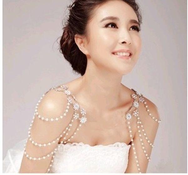 2014 fashion diamond necklace bride shoulder chain dress epaulets wedding jewelry