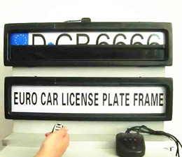 Wholesale European Control - Free shipping-Plastic Car License Plate Frame European Remote Control Car Licence Frame Cover Automatic Plate Privacy(EURO and Russia size)