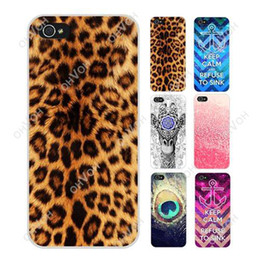 Wholesale Anchor Iphone Cases - S5Q Leopard Anchor Peacock Feather Deer Cover Case Skin Protector For iPhone 5C AAADEZ