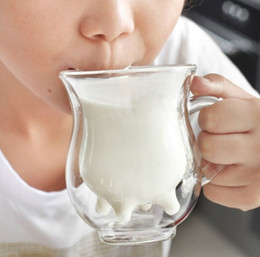 Wholesale Milk Glass Coffee - Novelty gifts Cute patten teatime glass double layer coffee milk cups