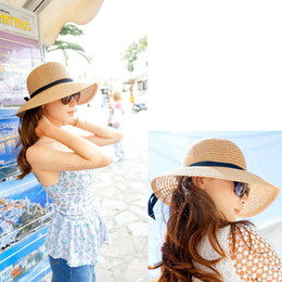 Wholesale Brown Straw Hats - S5Q Women's Ladies Brim Summer Beach Sun Hat Straw Floppy Elegant Bohemia Cap AAADEJ