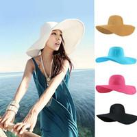 Wholesale Large Summer Women Hats - S5Q Fashion Women's Floppy Derby Hat Wide Large Brim Summer Beach Straw Sun Hat AAADEI