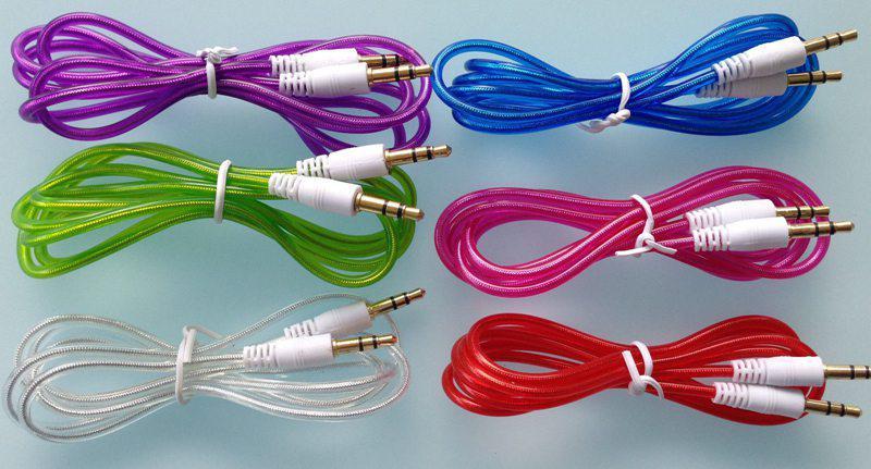 3.5mm Cable AUX estéreo de audio Cable transparente de cristal Auxiliary Cords Jack macho a macho 1 m 3 pies para teléfono móvil /
